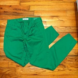 Madewell green skinny ankle pants